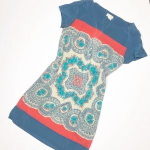 Anthropologie Meadow Rue Silk Dress Floral